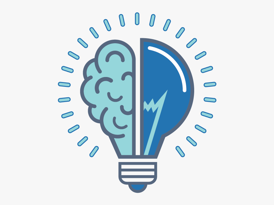 a light bulb that is split in half with the other half looking like a brain. The image is blue and teal.