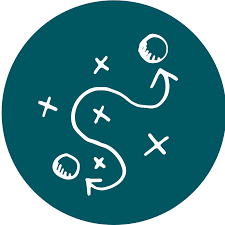 a dark teal circle with a squiggly line with arrows pointing at two circles. Around the squiggly line are x's